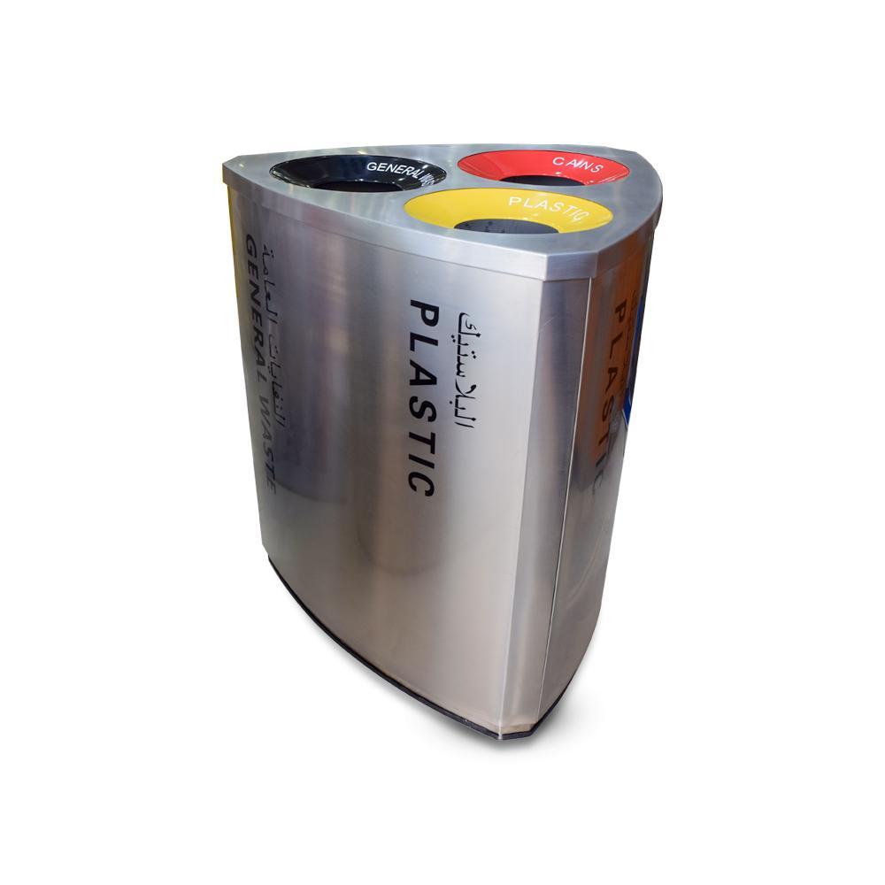 Stainless Steel 3 top Recycle Bin 180 Liters
