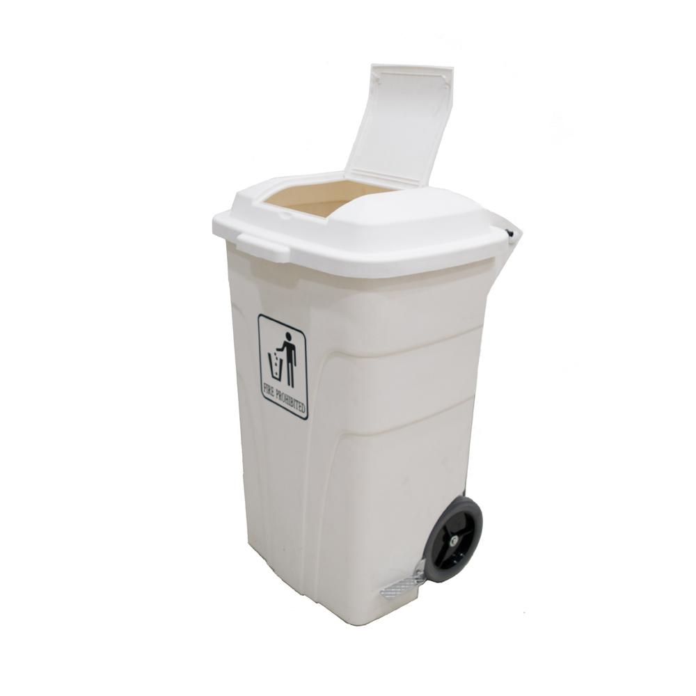 Garbage Can with Pedal and wheels White 120 Liters