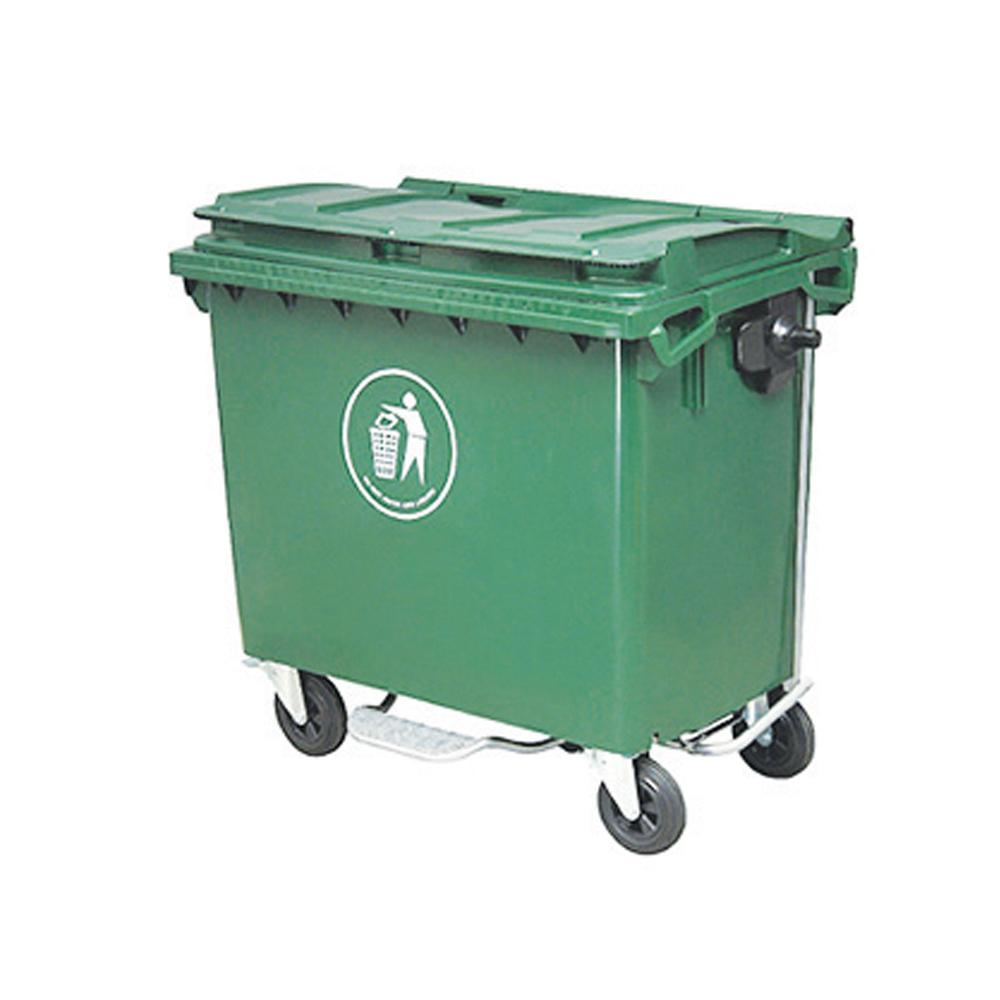 Outdoor Dustbin with Wheels & Brakes 660 Liters