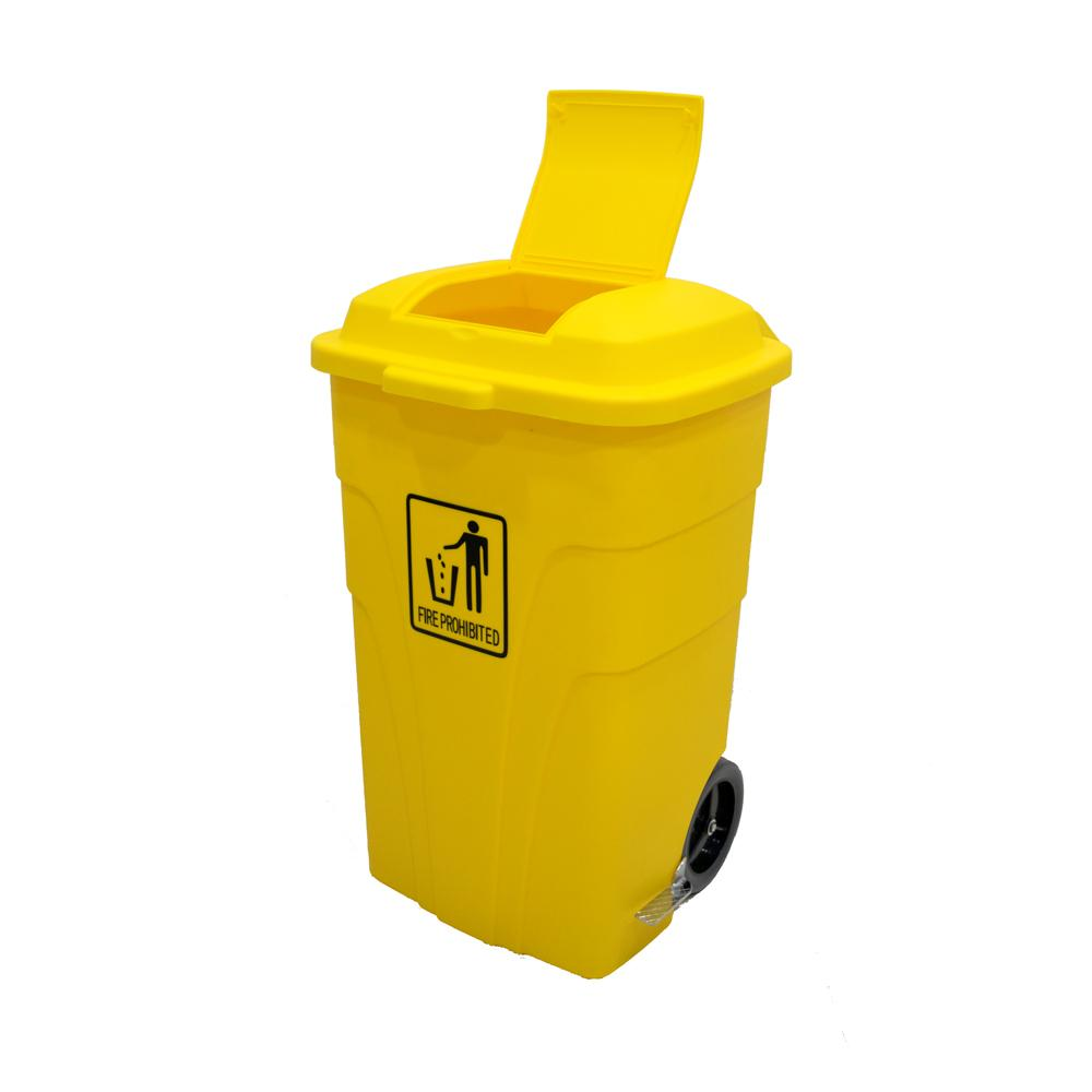 Garbage Can with Pedal and wheels Yellow 120 Liters