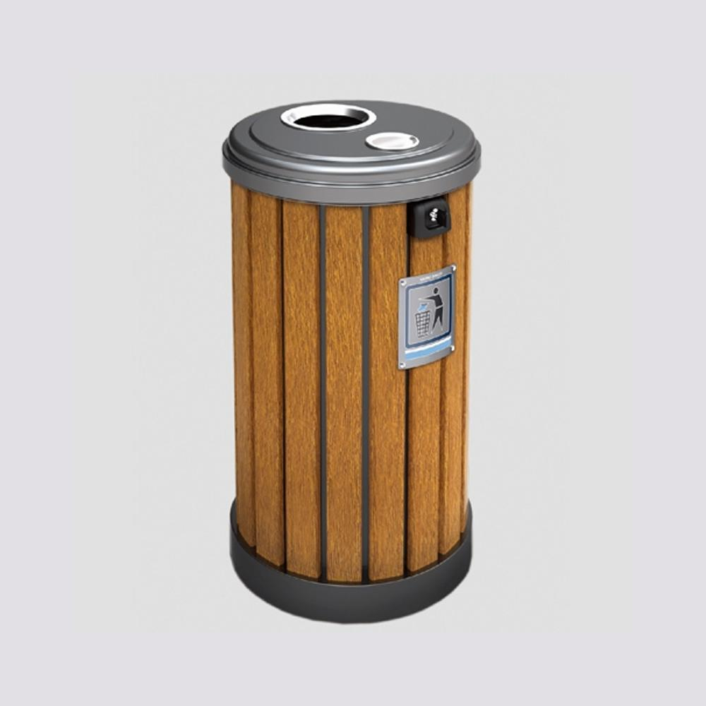 Metal Bin With Astray and Plastic Wood Bar 50 Liters