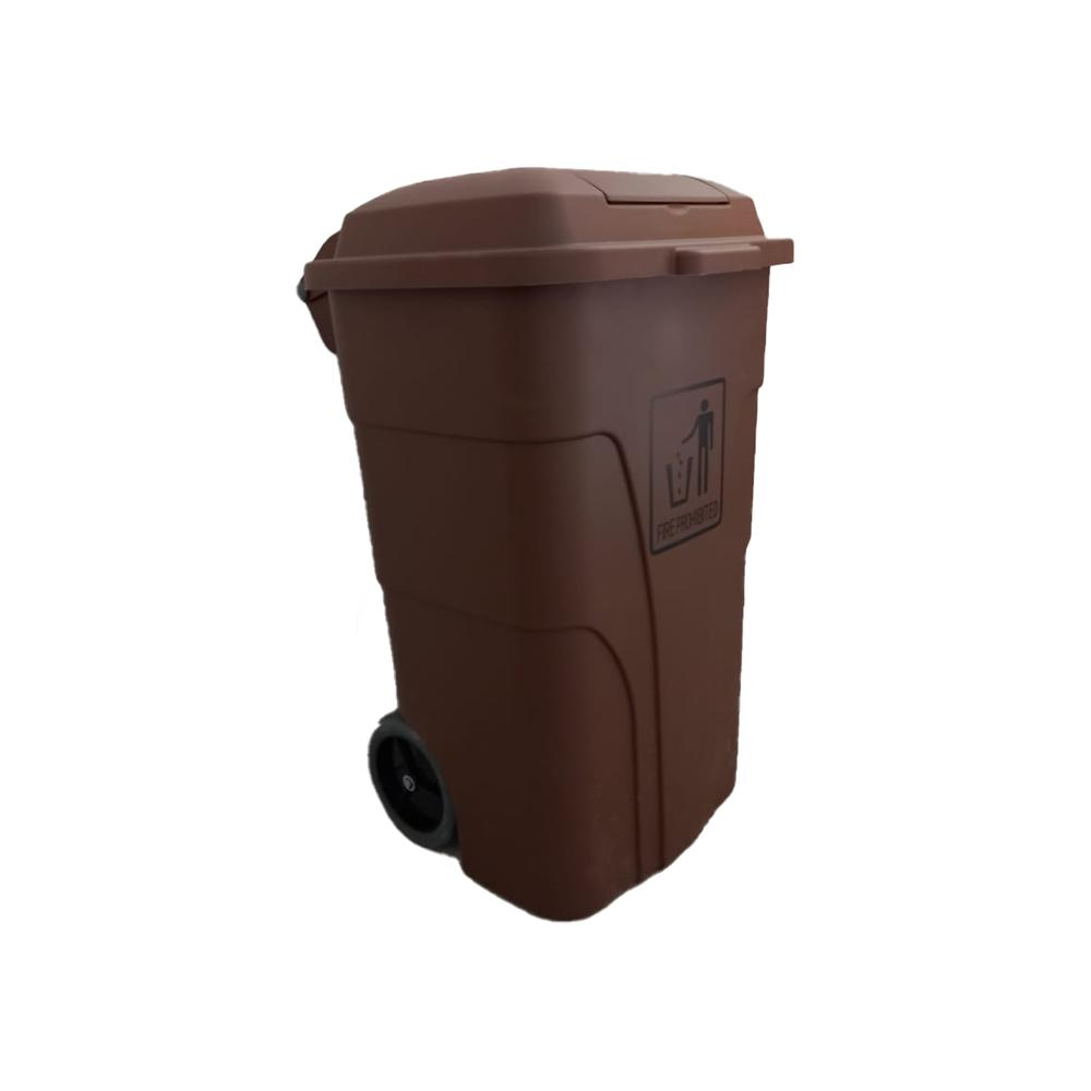 Garbage Can with Pedal and wheels Brown 120 Liters
