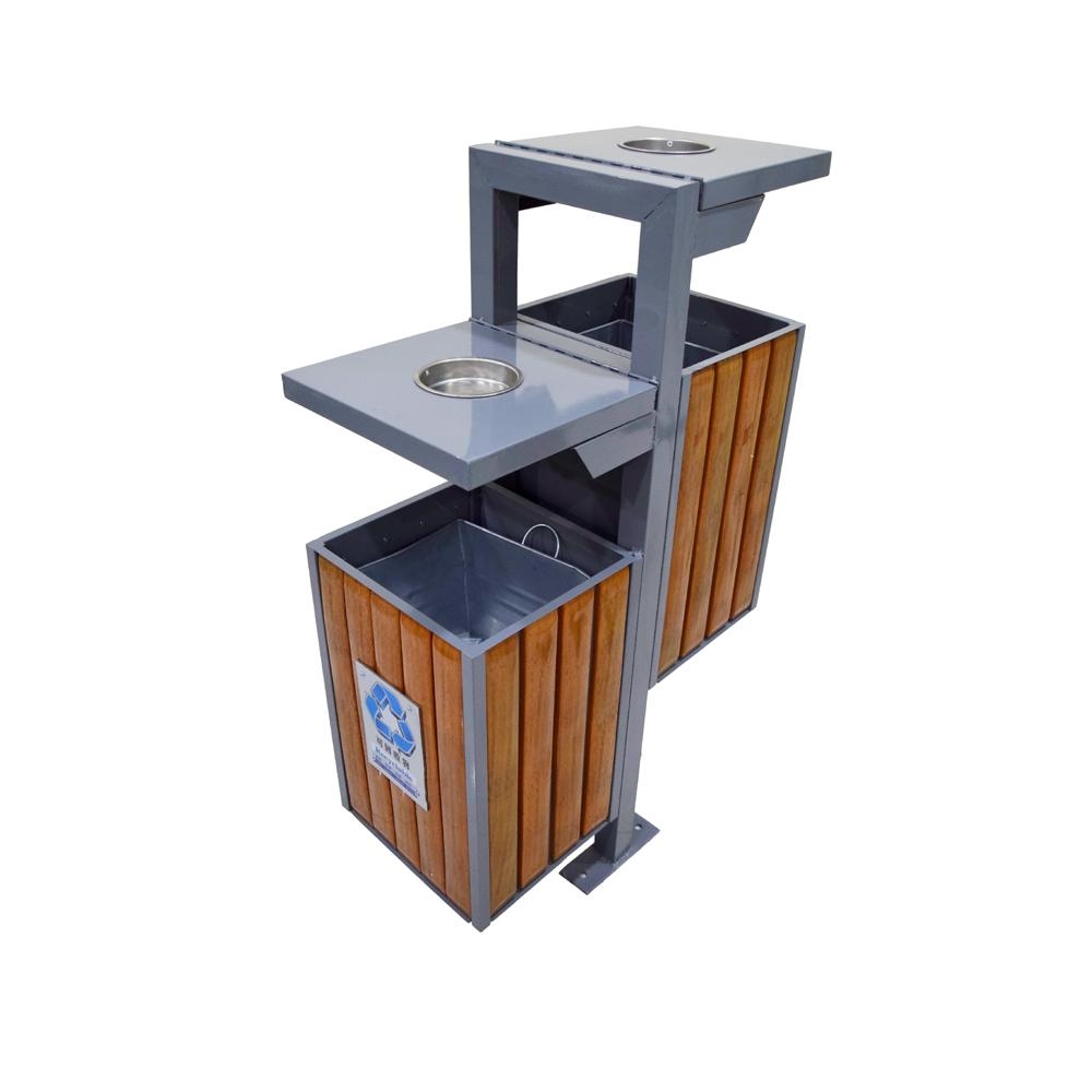 Metal Recycle Bin with Astray and Plastic Wood Bar 30 + 30 Liters each Side