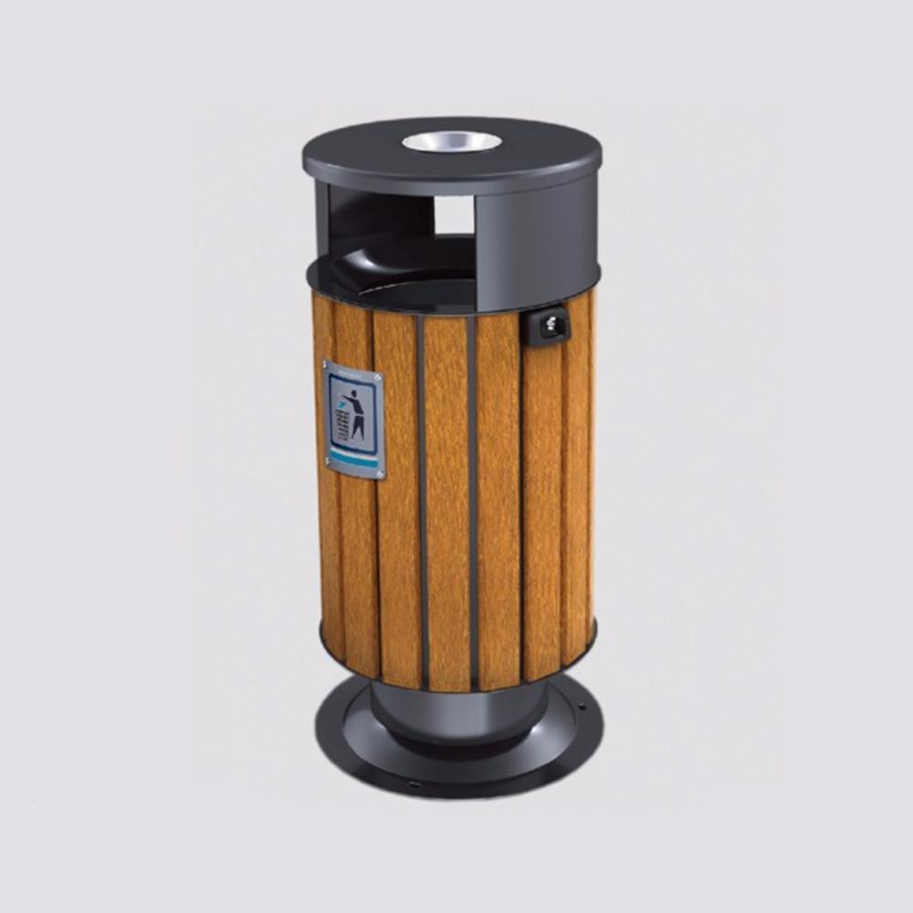 Metal Round Astray Bin With Plastic Wood Bar 40 Liters
