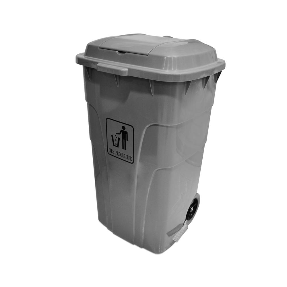 Garbage Can with Pedal and wheels Gray 240 Liters