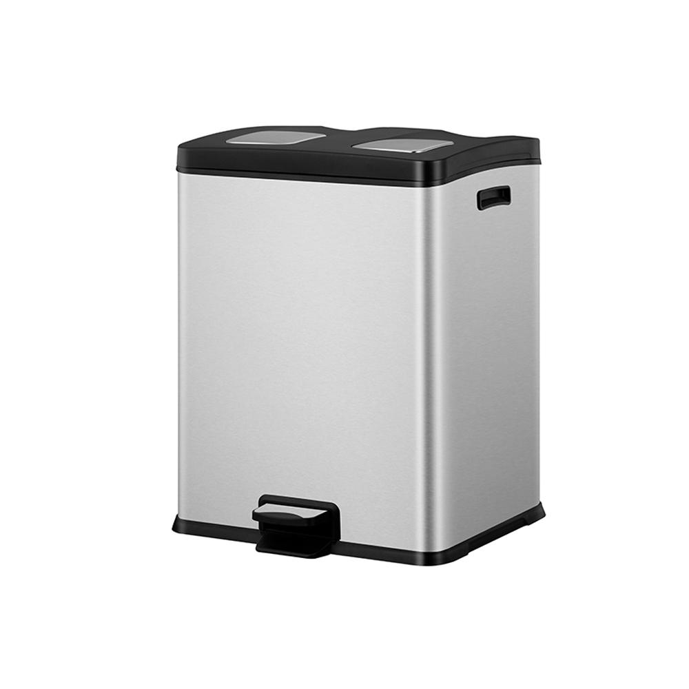 Stainless Steel 2 Compartment Recycle Bin 60 Liters