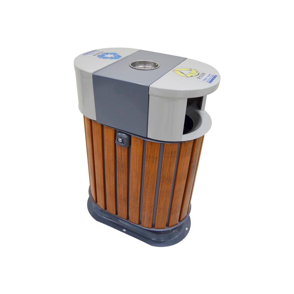 Metal Recycle Bin with Astray and Plastic Wood Bar Recycle Bin
