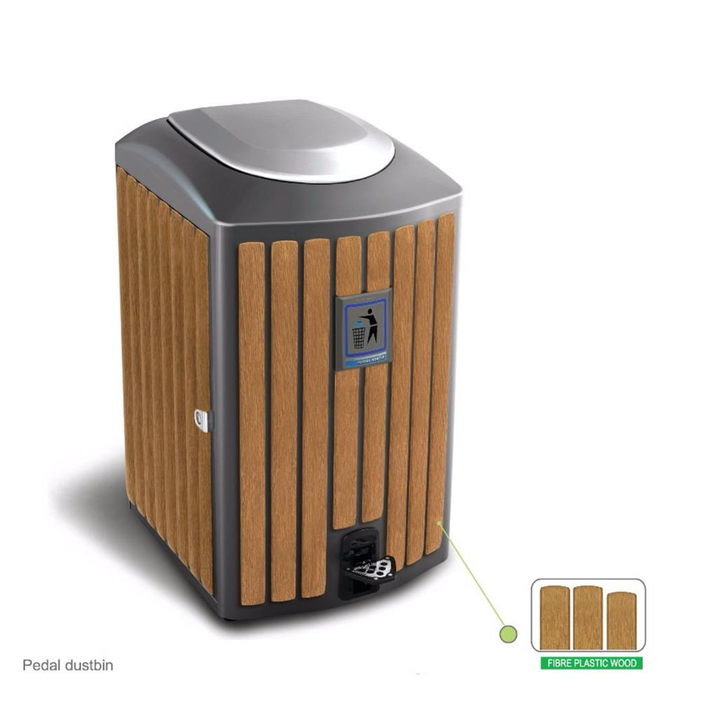 Metal Bin With Pedal and Plastic Wood Bar 115 Liters