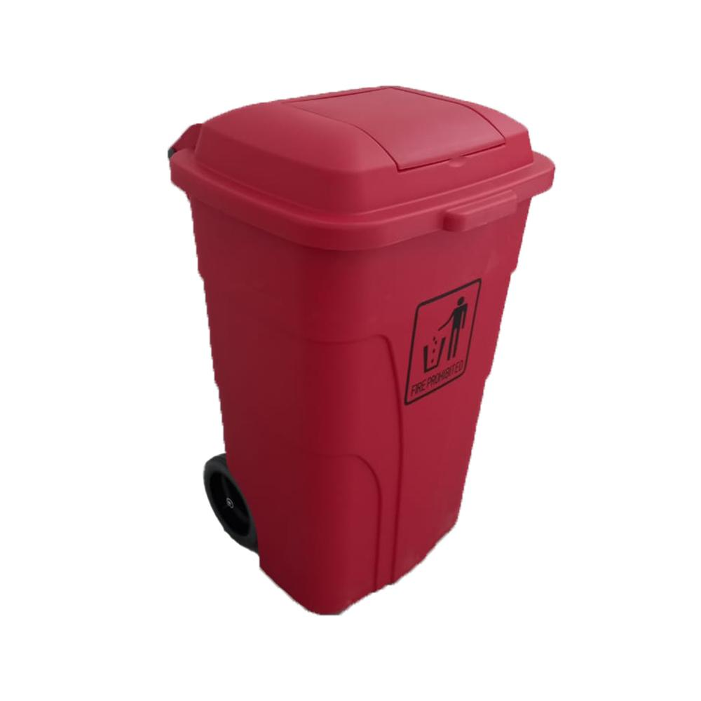 Garbage Can with Pedal and Wheels Red 120 Liters