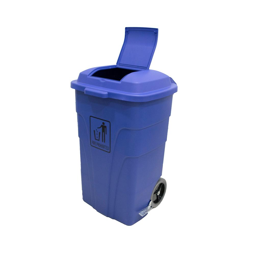 Garbage Can with Pedal and Wheels Blue 120 Liters